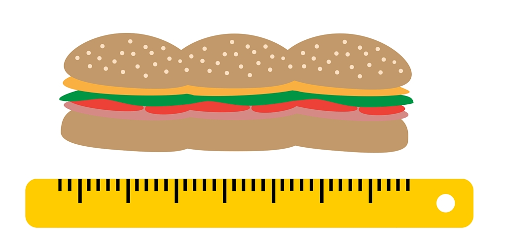 sandwich and ruler