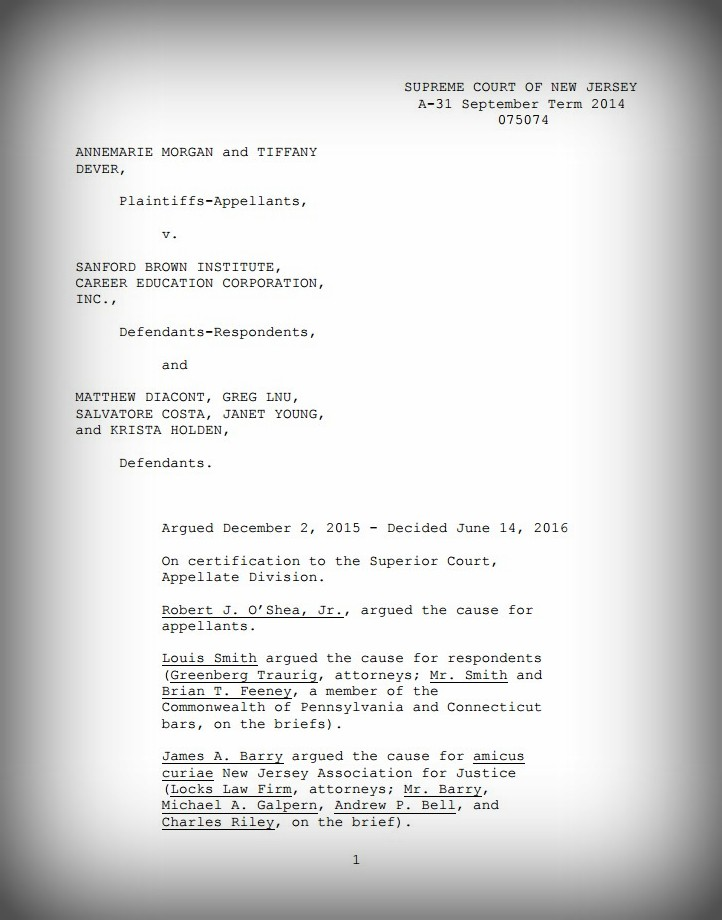 First page of the decision in Morgan v. Sanford Brown